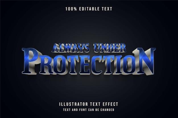 Zawsze pod ochroną, edytowalny efekt tekstowy z niebieską gradacją i szarym metalowym stylem tekstu