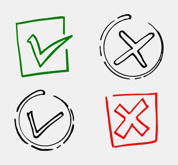 Zaznacz i krzyżuj czarne znaki. szary znacznik wyboru ok i x ikony, na białym tle. prosty projekt graficzny oznaczeń. symbole kółek tak i nie przycisk do głosowania, decyzji, sieci. ilustracja wektorowa.
