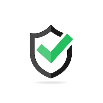 Zaznacz ikonę zatwierdzonego znaku. zielony znacznik wyboru z czarną tarczą. ilustracja wektorowa eps10
