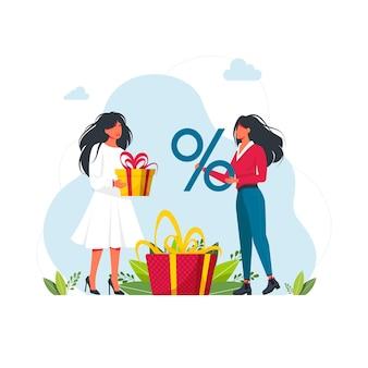 Zbieraj punkty programu lojalnościowego i otrzymuj nagrody i prezenty online. osoby zdobywające punkty, bonusy, otrzymujące prezenty, rabaty, zwrot gotówki za zakupy, wydające pieniądze. nagrody online, cyfrowy program poleceń