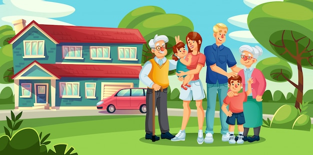Zbieranie dużej rodziny stojącej na podwórku domu na przedmieściach