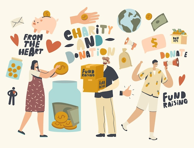 Zbieranie funduszy, wolontariat, wsparcie charytatywne, postacie wolontariuszy zbierające pieniądze w słoiku na datki. pomoc kampania na rzecz świadomości społecznej. darowizna społeczności hojnych ludzi. liniowa ilustracja wektorowa