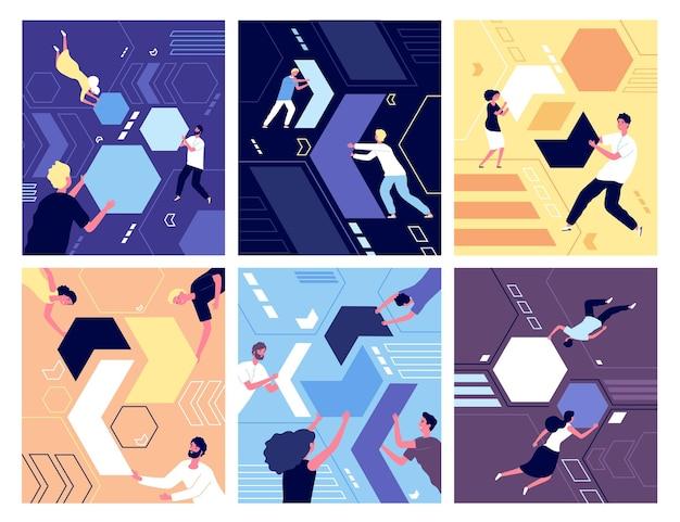 Zbieranie kształtów geometrycznych. ludzie układający puzzle. sukces partnerstwa, abstrakcyjne charaktery pracy i przywództwo. koncepcja wektor zespołu. zbierz abstrakcyjną formę układanki, ilustracja pracy biznesmen