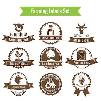 Zbieranie plonów i odznaki rolnicze lub zestaw etykiet