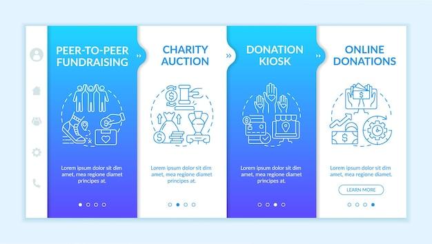 Zbieranie pomysłów na imprezę pieniężną onboarding wektor szablon. responsywna strona mobilna z ikonami. przewodnik po stronie internetowej 4 ekrany kroków. kiosk z darowiznami, koncepcja kolorów aukcji z liniowymi ilustracjami