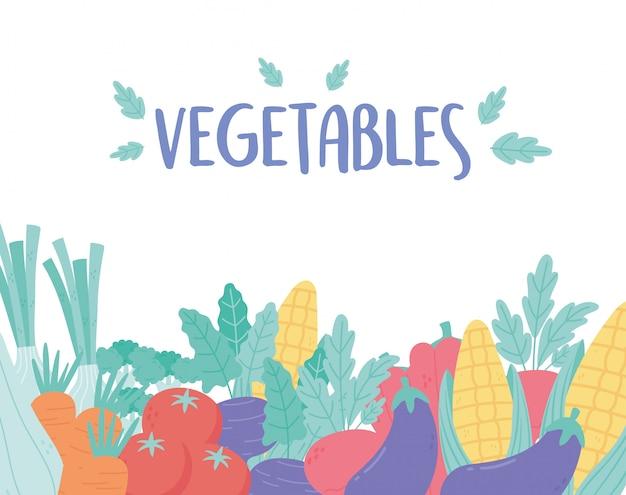 Zbierz soczyste i dojrzałe warzywa bakłażan kukurydza marchew pomidor i papryka