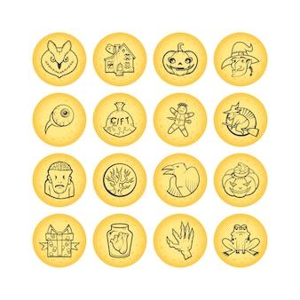 Zbiór 16 ikon szkic koło halloween. ilustracja.