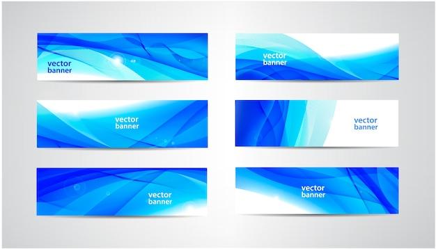 Zbiór abstrakcyjnych banerów falistych przepływu
