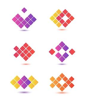 Zbiór abstrakcyjnych kolorowych logo na białym tle