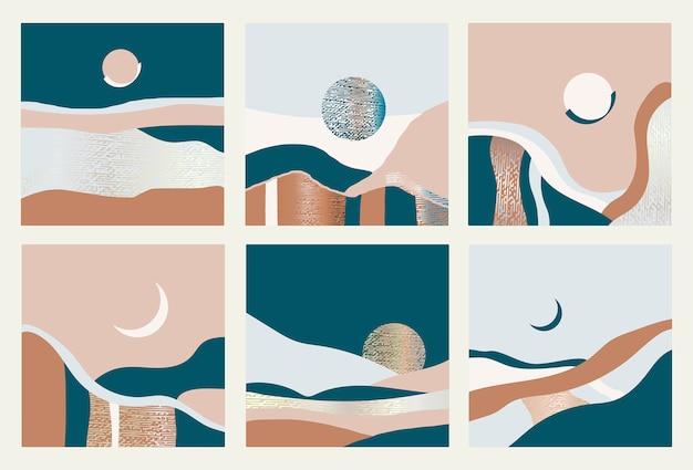 Zbiór abstrakcyjnych krajobrazów. ilustracji wektorowych.