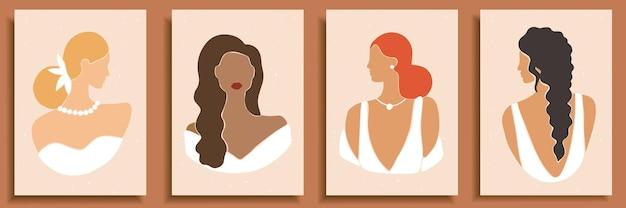 Zbiór abstrakcyjnych kształtów kobiet i sylwetki. abstrakcyjne portrety kobiet w sukniach ślubnych w pastelowych kolorach.