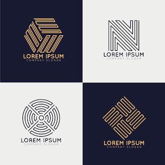 Zbiór abstrakcyjnych logo liniowych