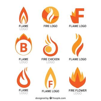 Zbiór abstrakcyjnych logo płomienia