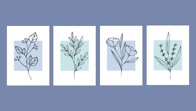 Zbiór abstrakcyjnych plakatów z roślinami. sztuka współczesna.