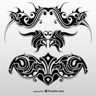 Zbiór abstrakcyjnych plemienne tatuaże