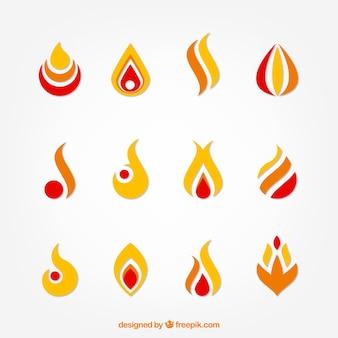 Zbiór abstrakcyjnych przydatnych płomieni do loga