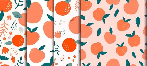 Zbiór abstrakcyjnych wzorów bez szwu z owocami