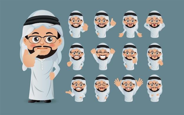Zbiór arabskich ludzi biznesu z różnymi emocjami