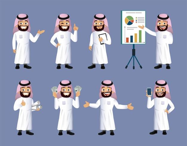 Zbiór arabskich ludzi biznesu z różnymi pozami