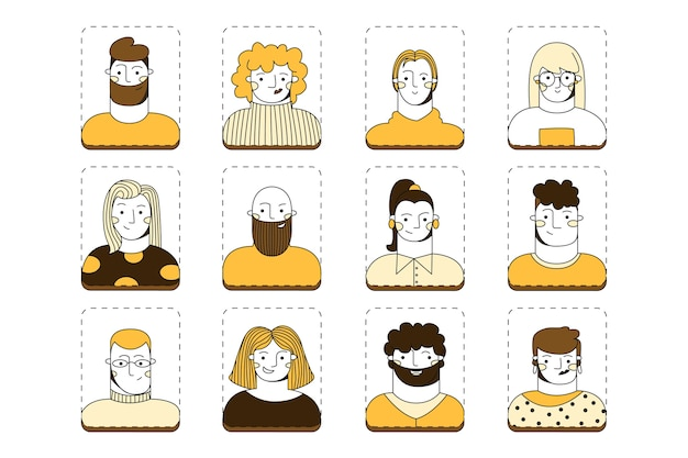 Zbiór awatarów grupy ludzi