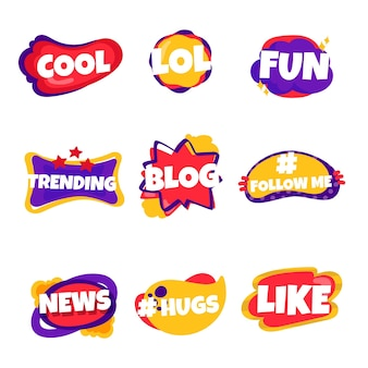 Zbiór baniek slangowych mediów społecznościowych