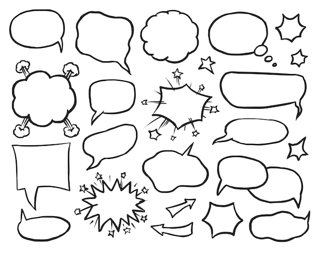 Zbiór bańki komiks na białym tle