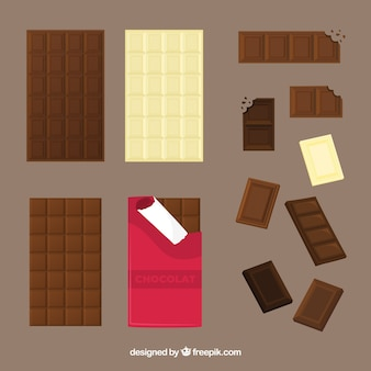 Zbiór batonów i kawałków czekolady
