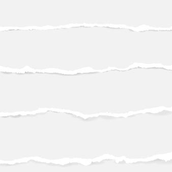 Zbiór bezszwowe rozdarty papier na przezroczystym tle