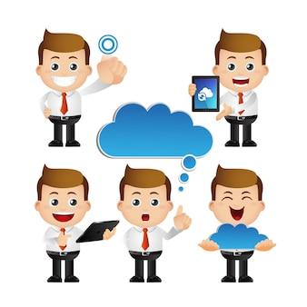Zbiór biznesmena z różnymi emocjami i urządzeniami