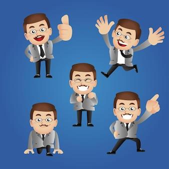 Zbiór biznesmena z różnymi emocjami