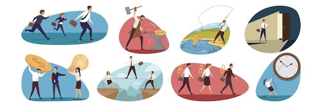 Zbiór biznesmenów, mężczyzn, kobiet, menedżerów
