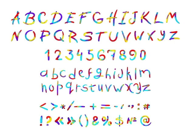 Zbiór cyfr i znaków interpunkcyjnych z literami łacińskimi