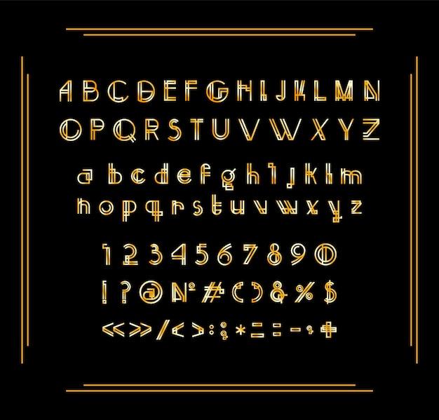 Zbiór cyfr, liter i znaków interpunkcyjnych czcionka art deco