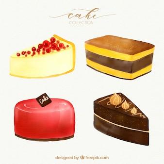 Zbiór czterech ciast akwarela