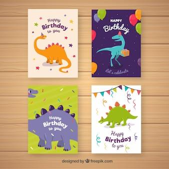 Zbiór czterech kart urodzinowych z dinozaurami