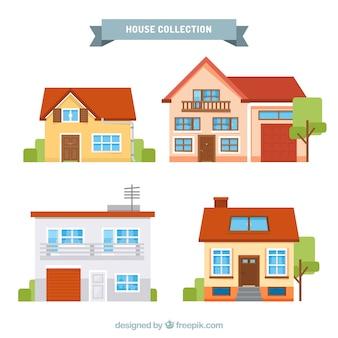 Zbiór czterech płaskich domów