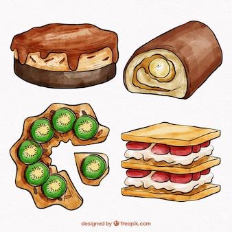 Zbiór czterech pysznych ciast akwarela