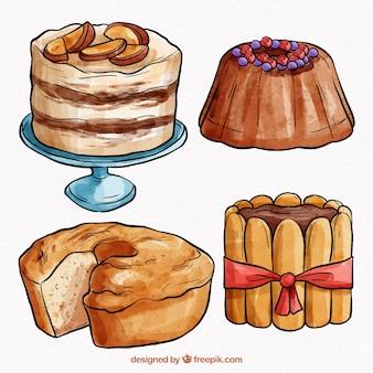 Zbiór czterech słodkie ciasta akwarela