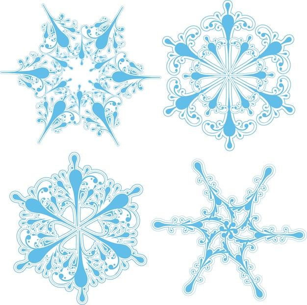Zbiór czterech szczegółowych wzorów płatka śniegu