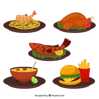 Zbiór danie żywności z płaskim deisgn