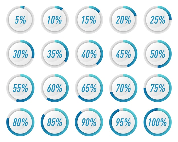 Zbiór diagramów procentowych niebieskiego koła dla infografik
