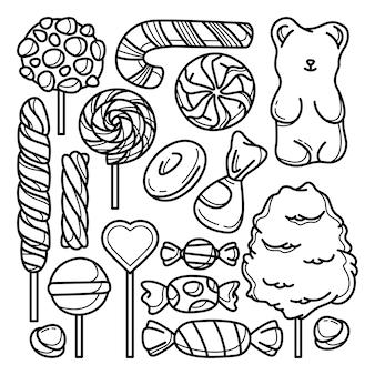 Zbiór doodli cukierków
