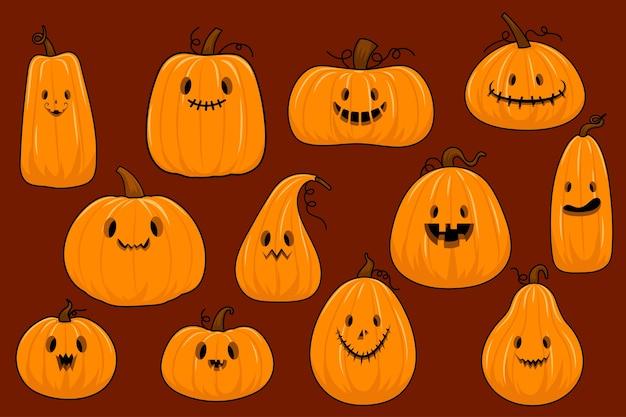 Zbiór dyni halloween w stylu płaski wektor. ilustracja treści, baner, plakat, kartka z życzeniami.