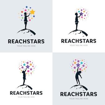 Zbiór dzieci osiągając zestaw logo star