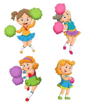 Zbiór dziewcząt cheerleaderek z różnymi pozami ilustracji