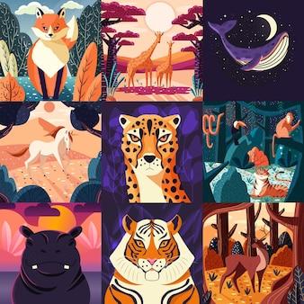 Zbiór dziewięciu ręcznie rysowanych ilustracji zwierząt i przyrody