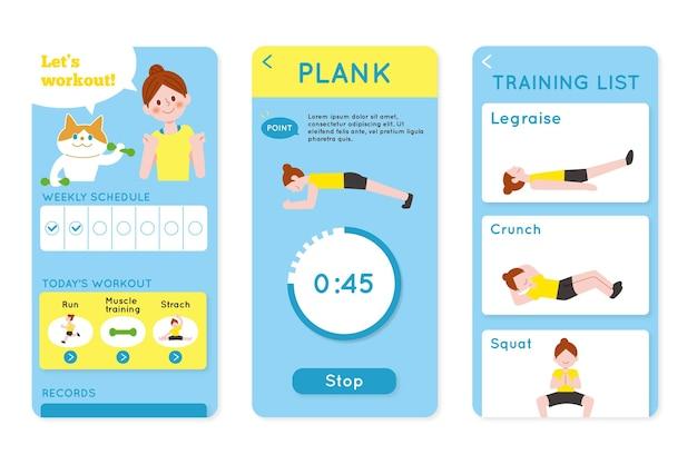 Zbiór ekranów aplikacji do śledzenia treningu