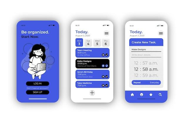 Zbiór ekranów aplikacji do zarządzania zadaniami