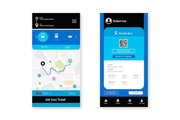 Zbiór ekranów aplikacji transportu publicznego