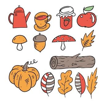 Zbiór elementów jesień na białym tle